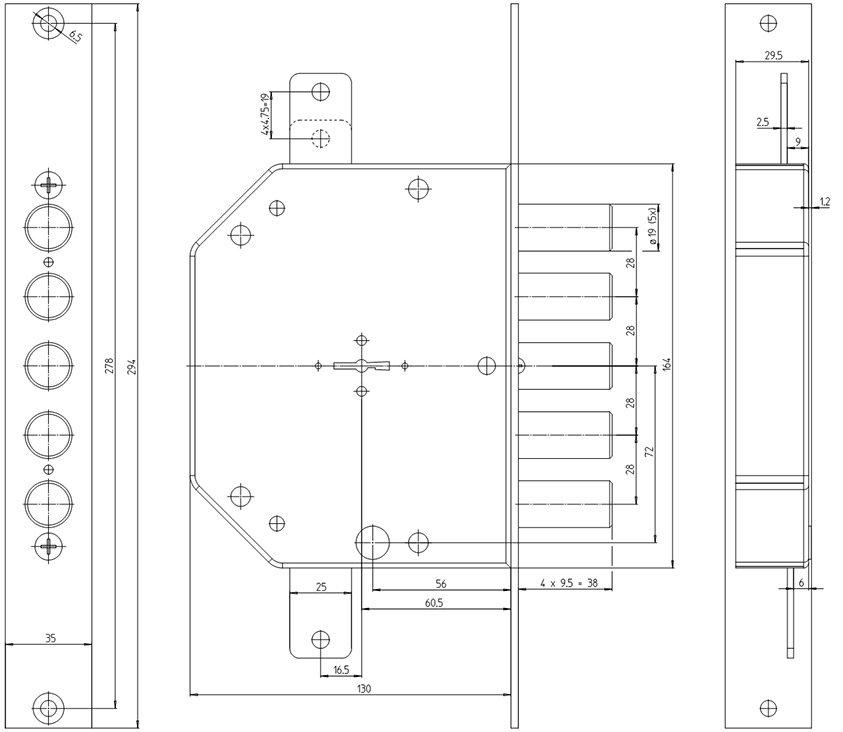 Технічна схема врізного замка CR 2101