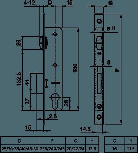 схема вузькопрофільного замка