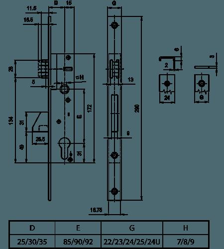 технічна схема вузькопрофільного замка вектор