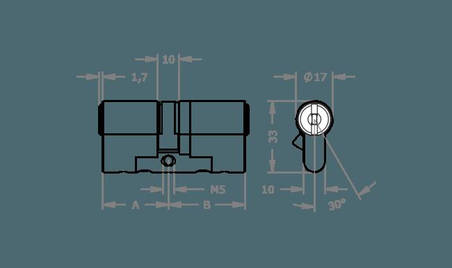 схема цилиндра EVVA MCS, ICS та 4KS