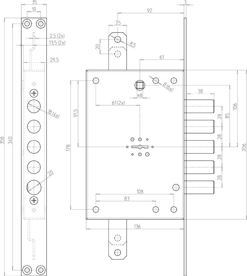 схема сувальдного замка CR 7001 mrx
