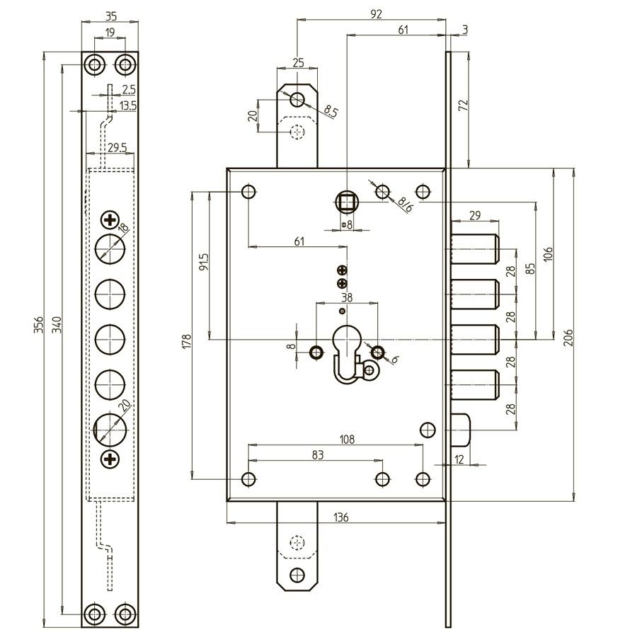 схема редукторного замка CR 7051