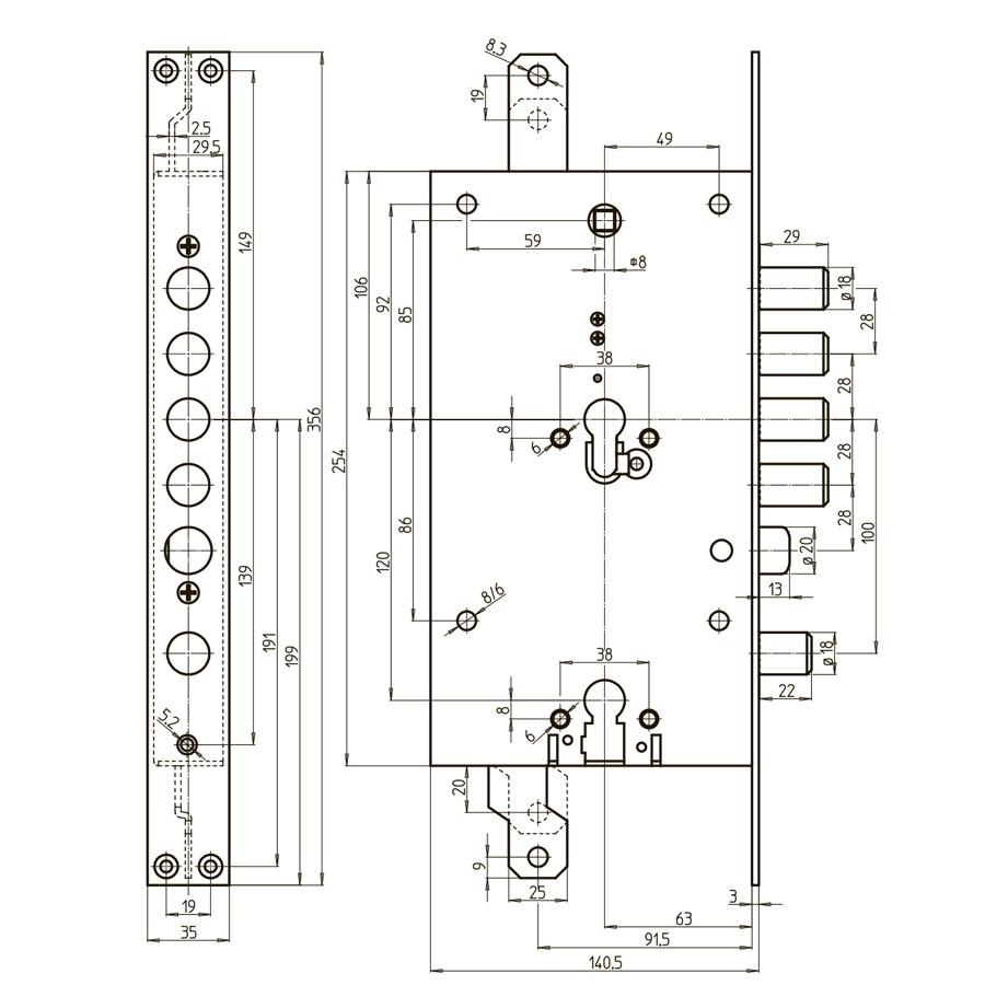 схема двоциліндрового замка CR DUAL GEAR