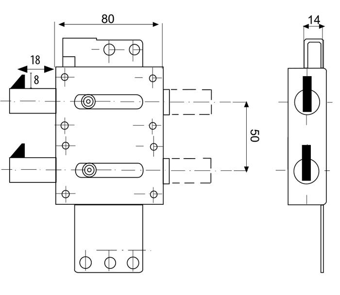схема девіатора із ригелями крюками