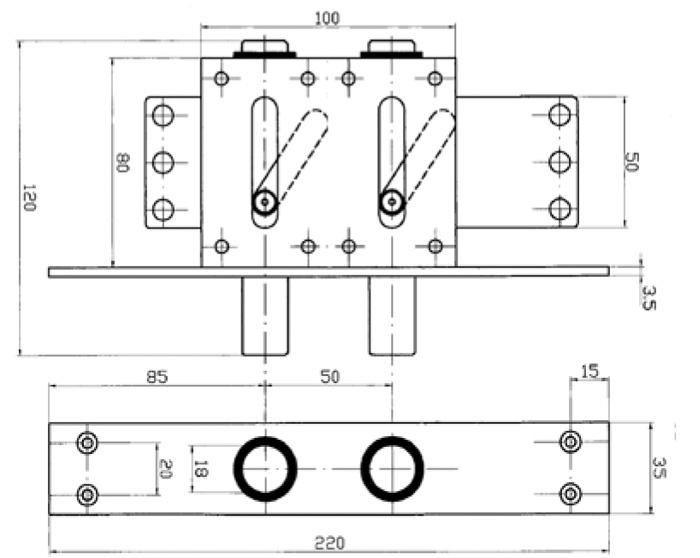 схема девіатора із двома ригелями