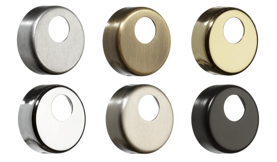 доступні кольори декоративних накладок azzi fausto — матовий хром, полірований хром, нікель сатин, бронза, полірована латунь, чорна