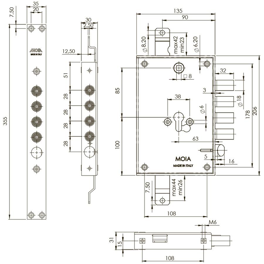схема циліндрового врізного замка MOIA