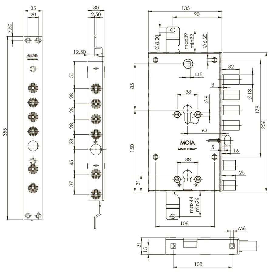 схема двохсистемного циліндрового врізного замка італійського виробництва